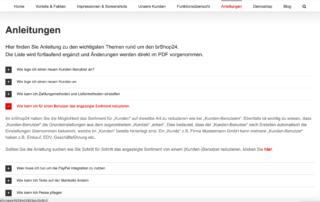 Screenshot: Anleitungen